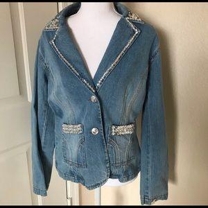 Jeanology vintage embellished denim jacket size 10